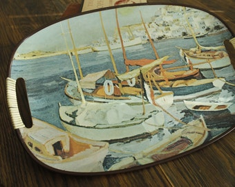 Vintage Mid Century Serving Tray, Boats, Ocean, Nautical theme, Bar accessories,