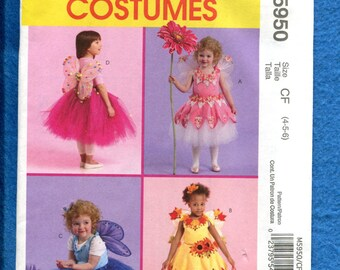McCalls 5950 Sweet Little Girls Fairy Costumes Pattern Size 4..5..6 UNCUT