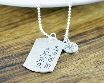 Men's Coordinates Necklace, Latitude Longitude Necklace,GPS Coordinates Gift, Compass Graduation Necklace, Graduation Gift, Coordinates Gift