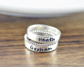 Personalized Stacking Rings, Sterling Silver Name Ring, Hand Stamped Ring, Mothers Ring, Personalized Stackable Name Ring, Mothers Jewelry