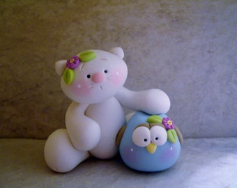 Owl and Kitty Cat - Polymer Clay - Figurine