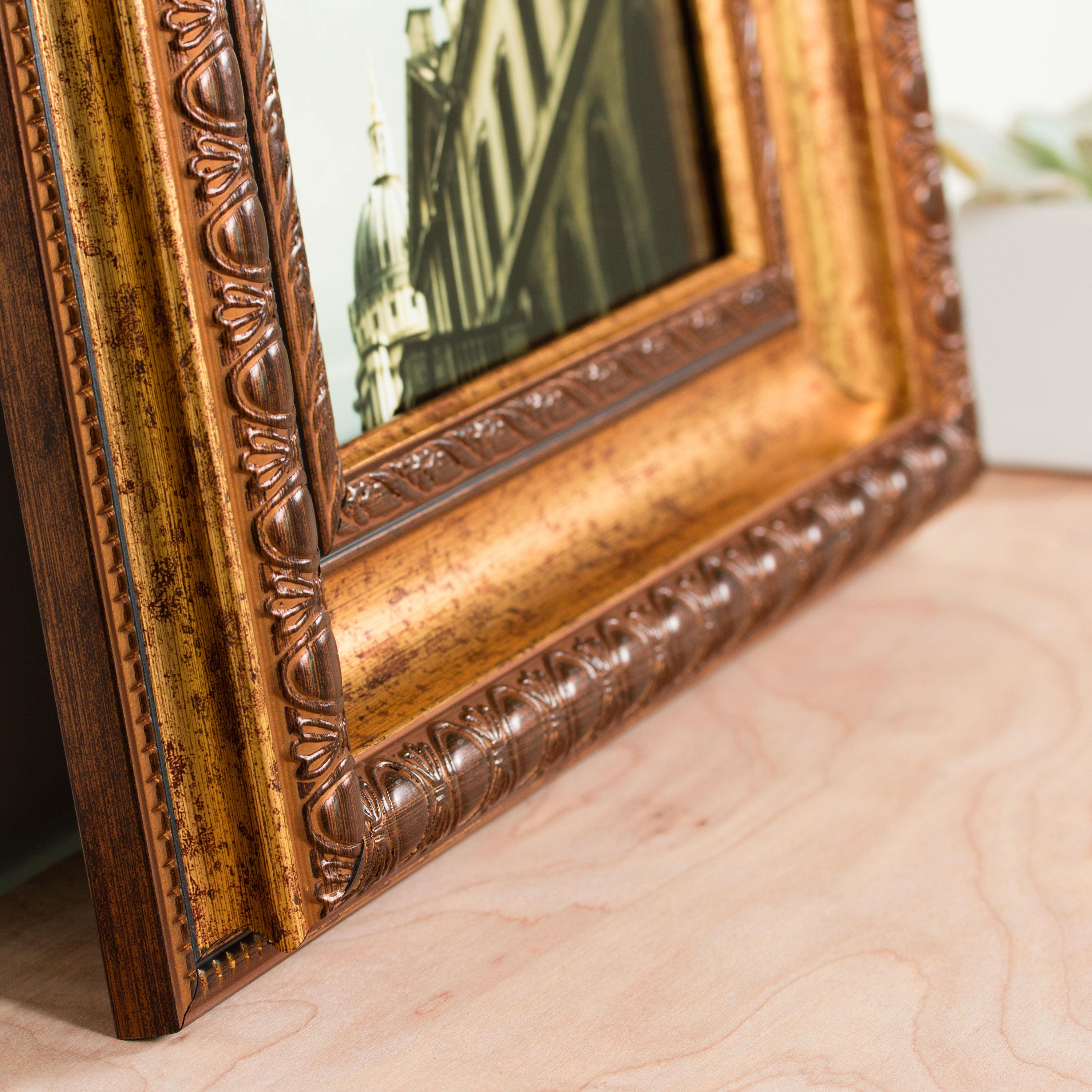 Craig Frames, 4x10 Inch Aged Gold Picture Frame, Arcadia Gothic ...