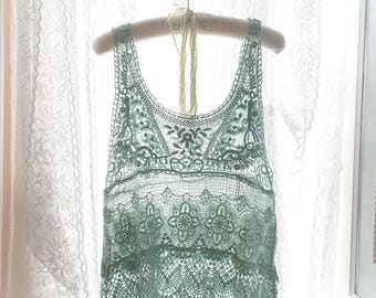 Lace Cotton Crochet Sheer Tank Top Blouse , Pastel Mint Green Hand Dyed ,women's beach coverup boho gypsy style Boho Bohemian Sleeveless