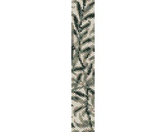 Leaves Peyote Bead Pattern, Bracelet Cuff Pattern, Bookmark Pattern, Seed Beading Pattern Miyuki Delica Size 11 Beads - PDF Instant Download