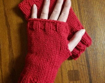 Wristlets Fingerless Mitts Hand Warmers - in the color Red