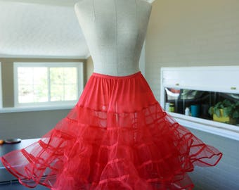 Vintage Malco Modes Red Crinoline Adult Tutu Women Petticoat Size Medium