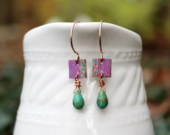 Pink Mixed Media Earrings, Mixed Media Jewelry, Pink Earrings, Bead Earrings, Beaded Jewelry, Turquoise Blue, Gift for Her, Hippie Earrings