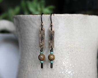 Tree Earrings, Green Mixed Media Earrings, Mixed Media Jewelry, Recycled Repurposed, Stamped Metal, Beaded Jewelry, Bead Earrings, Bohemian