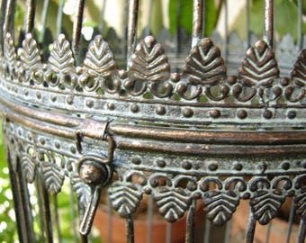 vintage cage lantern,Moroccan style,aged brass,patina,ornate candle holder,top opens up