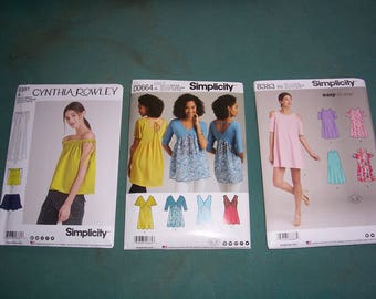 Simplicity 8383 or 8381 or 8389..New Misses Stylish top and Dress Patterns..Uncut Misses Trapeze Dress..Knit and Woven Tops..Dress or Toop..