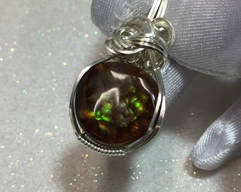MEXICAN FIRE AGATE Pendant - Sterling Silver - with necklace (187s8)