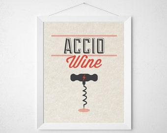 Wizard Wine Print - Accio Wine - typography kitchen wall decor poster wizard bar lover red modern minimal art corkscrew cork screw bartender