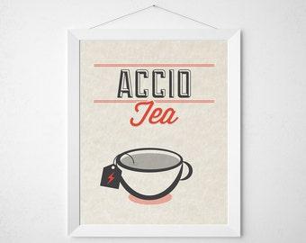 Wizard Tea Print - Accio Tea - typography kitchen wall decor poster wizard teacup red modern minimal art teabag earl grey chamomile english