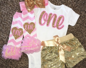 Pink and Gold First Birthday Set
