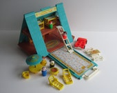 Reserved for Hilary- Vintage Fisher Price A-Frame #990 Little People 1974-76- Complete with extra