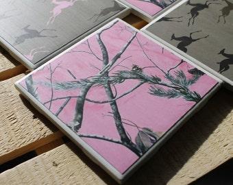 Pink Camo Four Piece Ceramic Tile Coaster Set