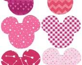 6 Minnie Valentine iron on fabric appliques DIY