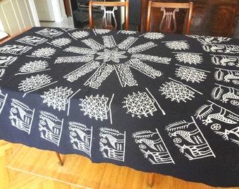 Square Handblocked black Turkish tablecloth - OOAK  - picnic- boho