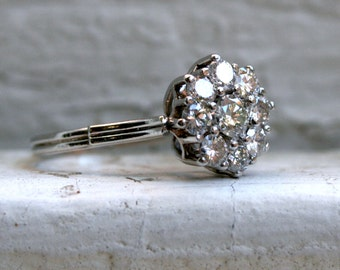 Vintage Platinum Diamond Cluster Wedding Engagement Ring - 1.53ct.