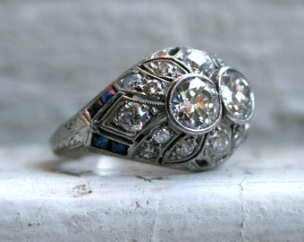 Stunning Antique Filigree Platinum Diamond Twin Stone Ring - 2.34ct.