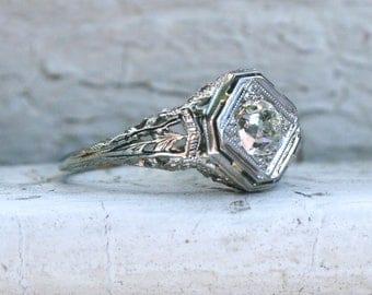 Vintage Filigree 18K White Gold Solitaire Diamond Engagement Ring - 0.70ct.