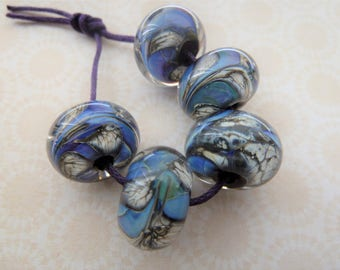 handmade lampwork blue reactive glass beads, UK set