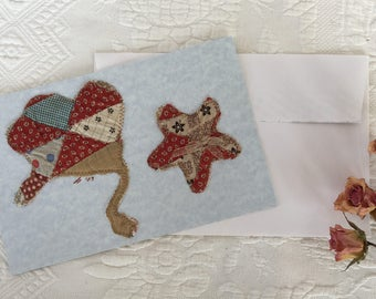 Blank Antique Quilt Cowgirl Note Card, Cowgirl Hat and Star using Antique Quilt Pieces Stitched onto Blank Card Stock. One Card Envelope.