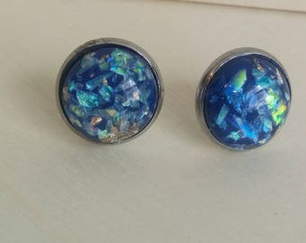 Blue  Gold Flaked Studs. Gold Leaf Flake and Opal Flake Earrings. 12 mm. Everyday Earring. Gift for Her. Bridesmaid Earrings.