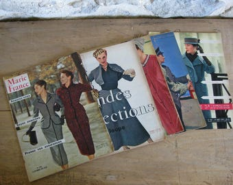1950s 5 French magazines, Marie France magazines from 1953