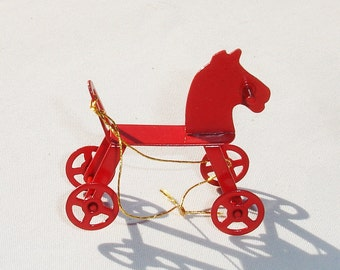 Vintage Metal Toy Horse Doll House Miniature - 1/12 Scale