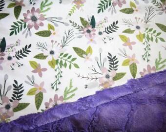 Lavender Flower Baby Blanket, Girl Baby Blanket, Baby Girl MINKY Blanket, Minky Baby Blanket, Floral Baby Blanket, Personalized Baby Blanket