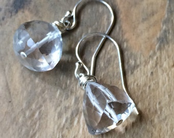 Trillion rock crystal faceted clear quartz sterling silver earrings