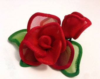 Handmade Red Rose with Pin