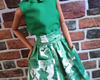 Full Print Skirt w/ Blouse and Accessories for Barbie or similar fashion doll