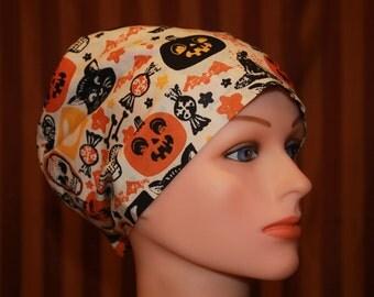 Tie Back Scrub Hat/Chemo Hat/Womens scrub hat/Surgical Scrub Hat/Scrub cap--Boo to You