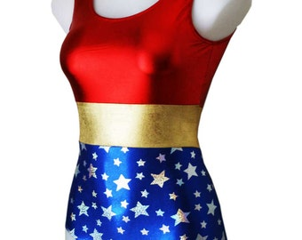 Superhero Bodysuit for Women. Great for that Superhero Party, a Superhero Birthday or a Halloween Costume. Kids Sizing Available. Made in AU
