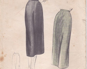 """1950s Vogue Sewing Pattern No 8057 for Womens Skirt  Waist 28""""  Hip 37"""" used, complete"""