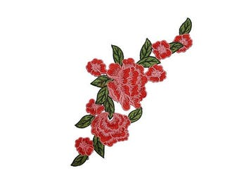 Red Embroidered Roses Flowers Patches Appliques, DIY Sewing Flowers Appliques