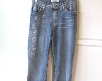 Faded Whiskered Studded Blue Jeans; '80s Diusca Jeans XS-Small Disco Jeans Farrah Blingy Beauty Queen Jeans Made in Italy