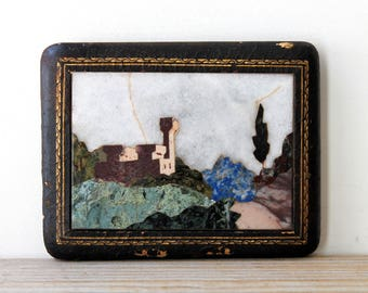 Cottage chic wall decor vintage Pietra Dura marble inlay landscape / mediterranean style home decor / stone inlay wall decor / rustic scene