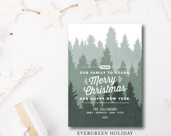 Evergreen Holidays Printed Holiday Card | Corporate | Pine | Merry Christmas | Printed or Printable by DarbyCards