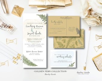Golden Fern Printed Wedding Invitations | Bohemian Wedding Invitation Suite | Printed or Printable by Darby Cards