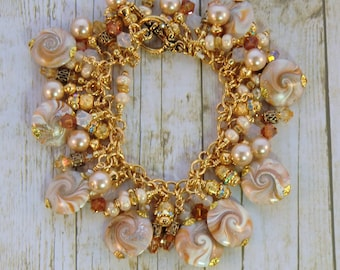 Caramel tan and gold cha cha charm bracelet, swarovski topaz pearl and rhinestone bracelet boho gypsy polymer swirl beaded bracelet, dangles