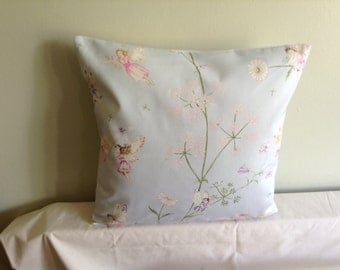 """16"""" Handmade contemporary modern cream, white, blue, pink fairy cushion cover, pillow, pillow case, scatter cushion."""