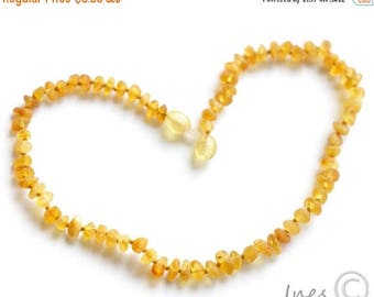 CHRISTMAS SALE Raw Unpolished Baltic Amber Baby Teething Necklace Honey Color Beads