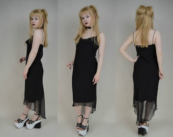 90s Gothic Black Sheer Mesh Asymmetrical Fishtail Midi Dress S