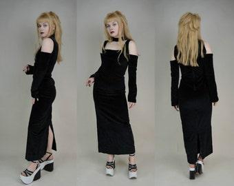 90s Goth Black Velvet Cold Shoulder Cut Out Choker Neck Maxi Dress XS