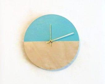 Wall Clock, Trending Minimalist Art, Green and Wood Clock, Housewares, Home and Living, Unique Wall  Clock