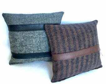Small Masculine Tendencies Leather Stripe Pillow in Brown/Black