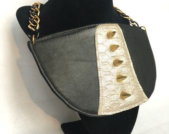 Tuxedo Spiked Leather Statement Necklace